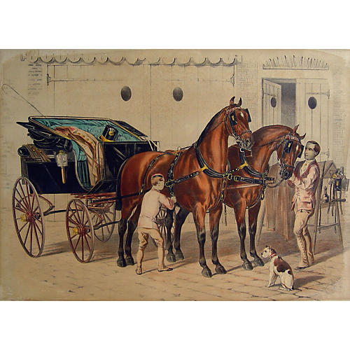 Fine Carriage Horses Lithograph