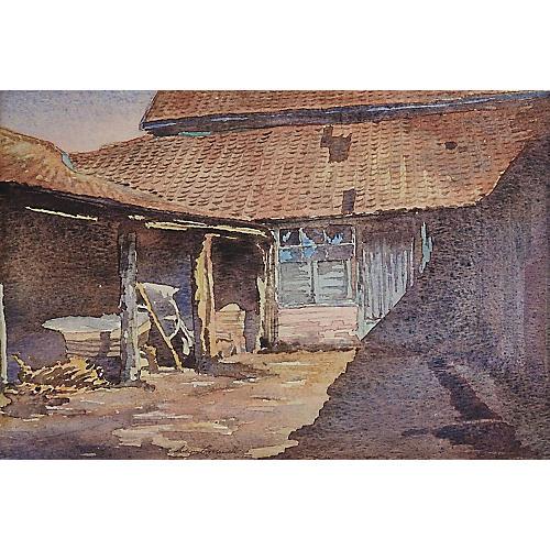 Rustic Farmyard Watercolor