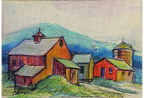 Brightly Painted Farm Study