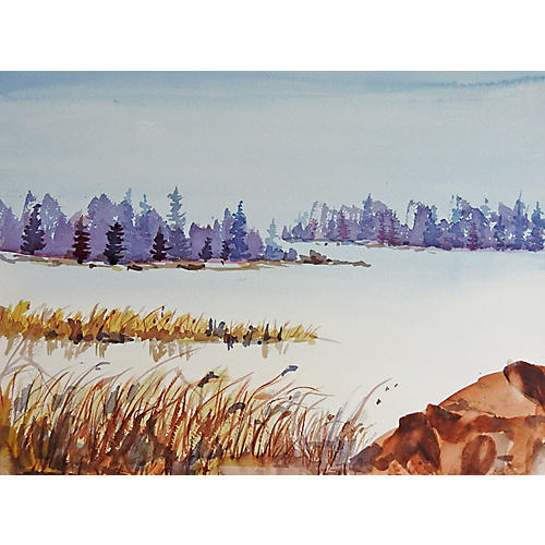 Tree-Lined Lake Watercolor