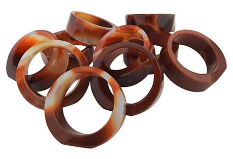 Agate Napkin Rings, S/10