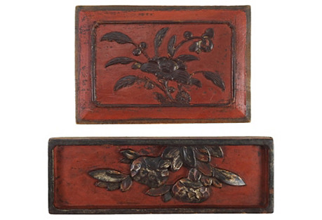 Carved Chinese Panels, 2 Pcs
