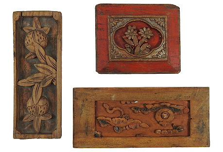 Chinese Carved Panels, 3 Pcs