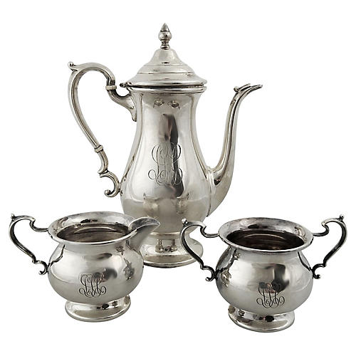 Sterling Silver Tea & Coffee Set, 3 Pcs