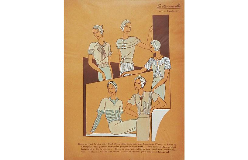 French Fashion Pochoir, C. 1930