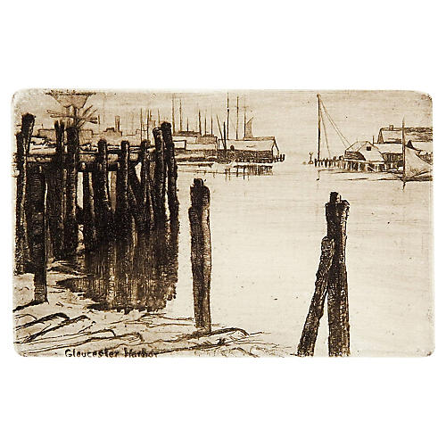 Gloucester Harbor Etching