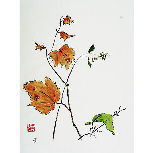 Chinese Fall Leaves Watercolor