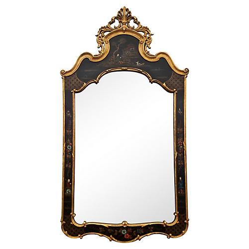 1950's Chinoiserie Black & Gilt Mirror