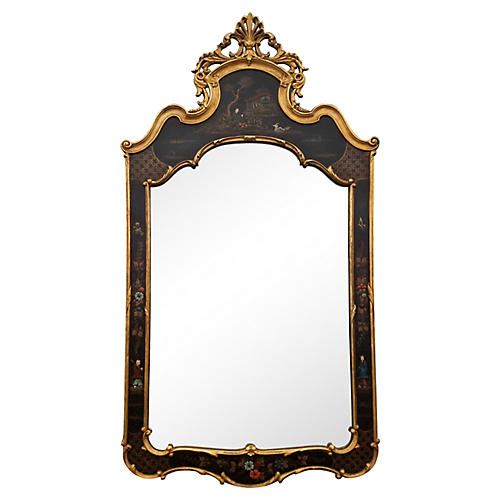 1950's Chinoiserie Black & Gilt Mirror