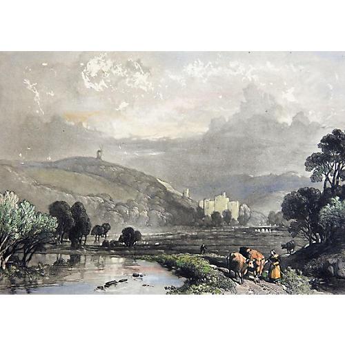 Pastoral Landscape Etching, C. 1880