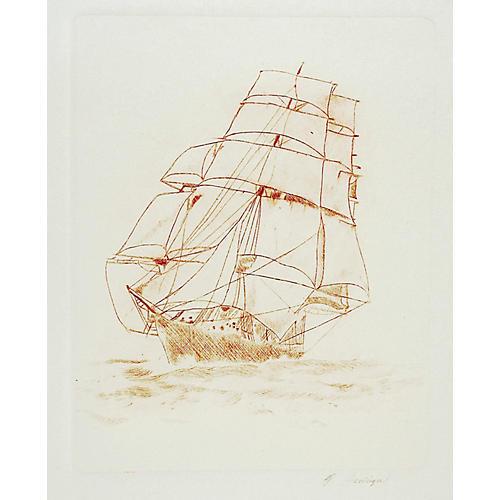 Sailing Ship Etching