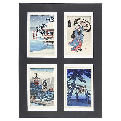Miniature Japanese Block Prints, S/4