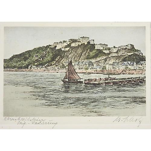 European Harbor Etching