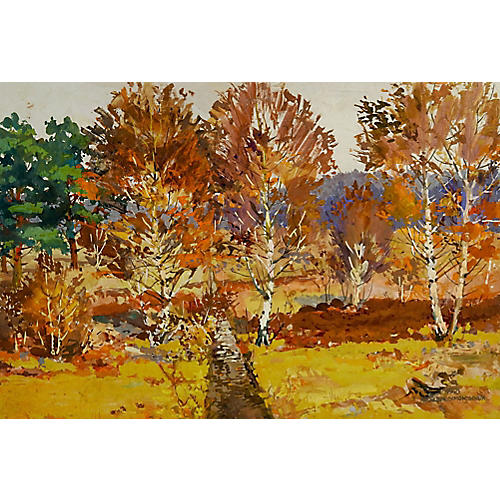 Birch Tree Landscape 1945