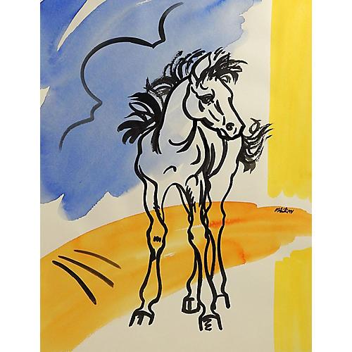 Modernist Horse Watercolor
