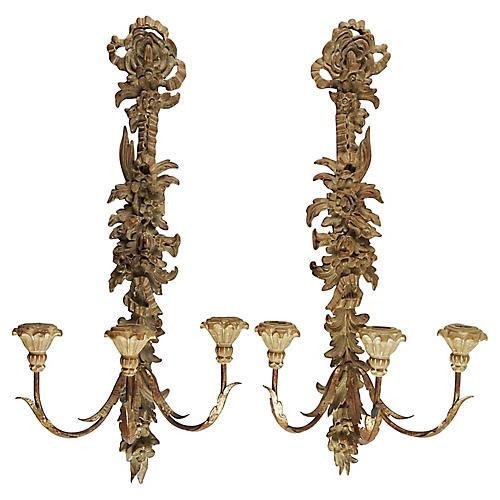Pair Italian Palladio Candle Sconces