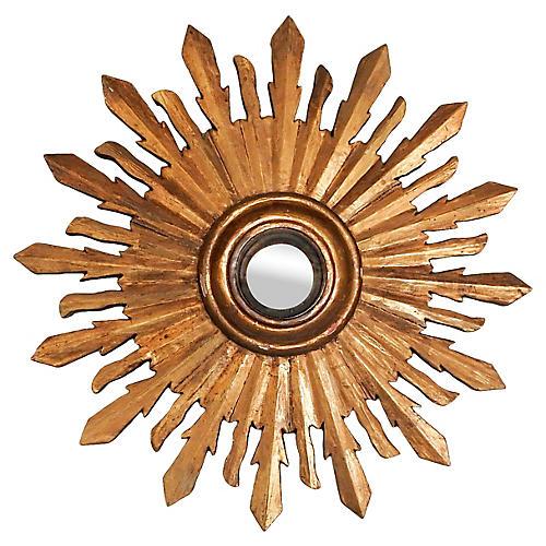 Carved Giltwood Sunburst Convex Mirror