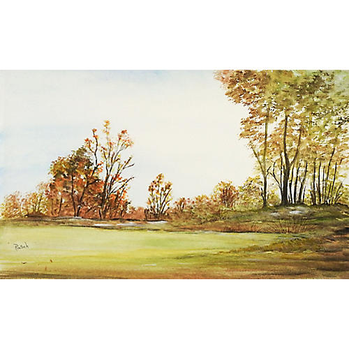 Meadow Landscape Watercolor