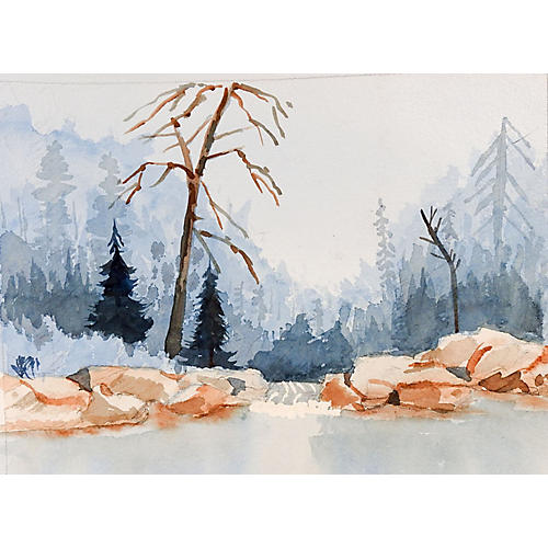 Plein Air Mountain Lake Watercolor
