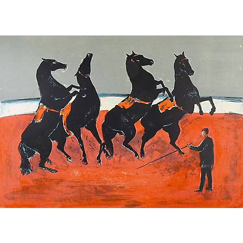 French Circus Horses Lithograph