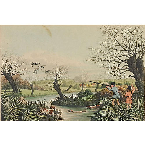 1824 Wild Duck Shooting Etching