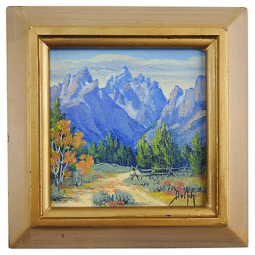 Miniature Grand Tetons Painting