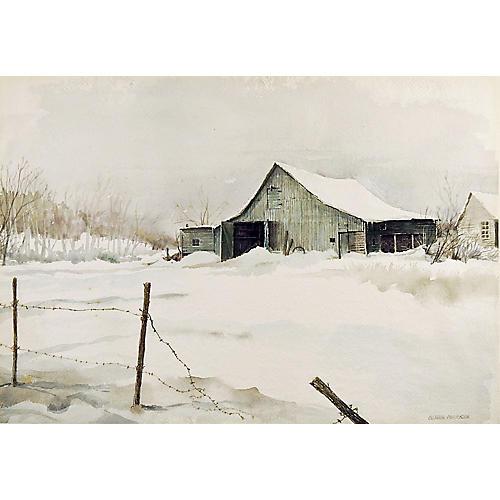 Barn in Winter by Gordon Morrison