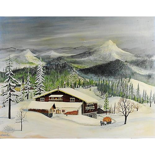 Folk Art Winter Scene