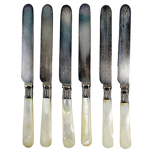 Antique Mother-of-Pearl Knives, S/6