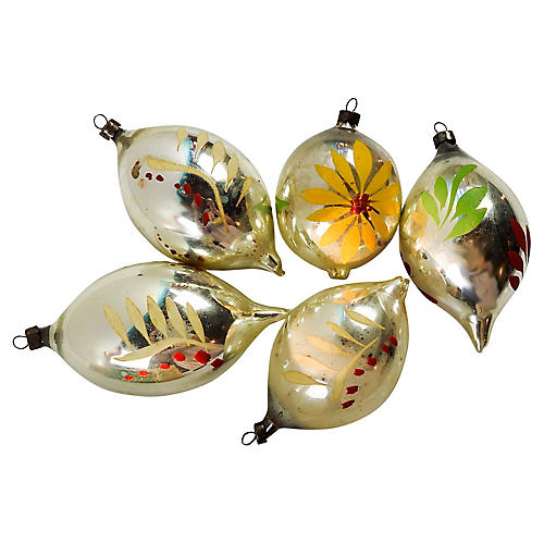 Tear Drop Christmas Ornaments S/5