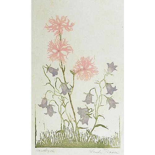 Wildflowers Woodcut by Wanda Roose