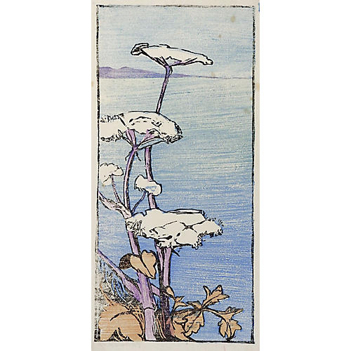 Seaside Wildflowers Woodcut, 1919