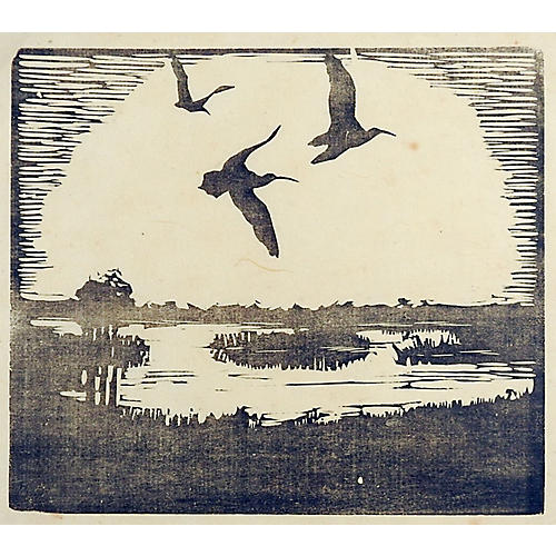 Wetlands Landscape Woodcut
