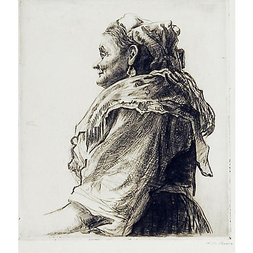 Italian Bird Woman Etching