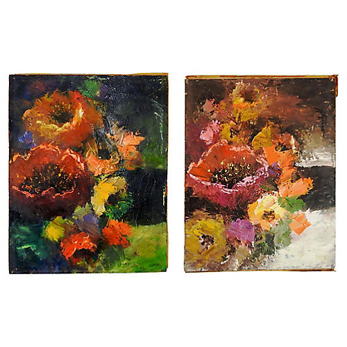 Modernist Floral Paintings, S/2