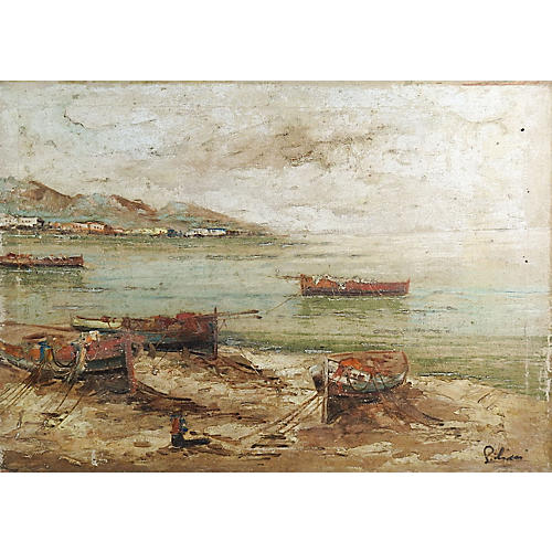 Distressed Harbor Painting