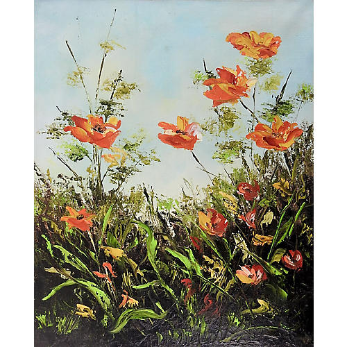 Modernist Orange Poppies
