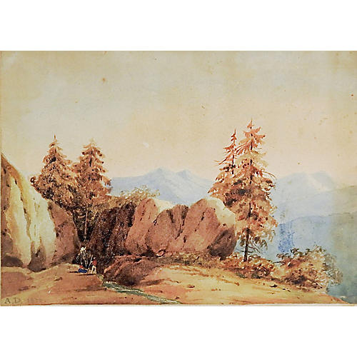 Miniature Watercolor Landscape, 1832