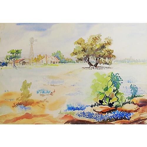 Bluebonnets & Cactus Watercolor