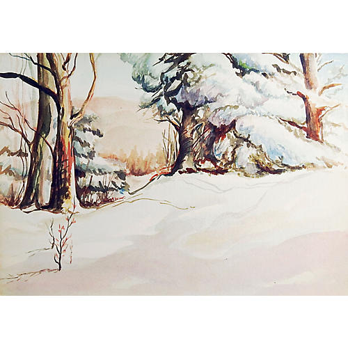 Winter Forest Watercolor