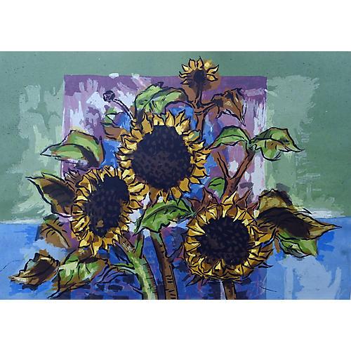 Sunflowers Serigraph Print by Guy Maccoy