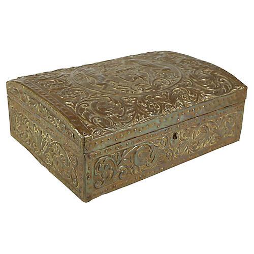 Antique Brass Repoussé Box