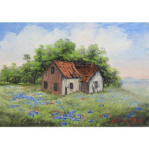 Rustic Farm House & Bluebonnets