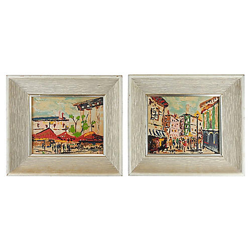 Elmo Gidion Street Scene Paintings, Pair