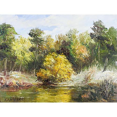 Impressionist Pond & Trees Landscape