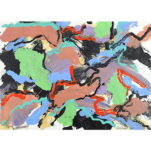 Abstract Black & Green Painting