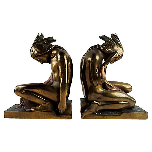 Pompeian Bronze Native American Bookends