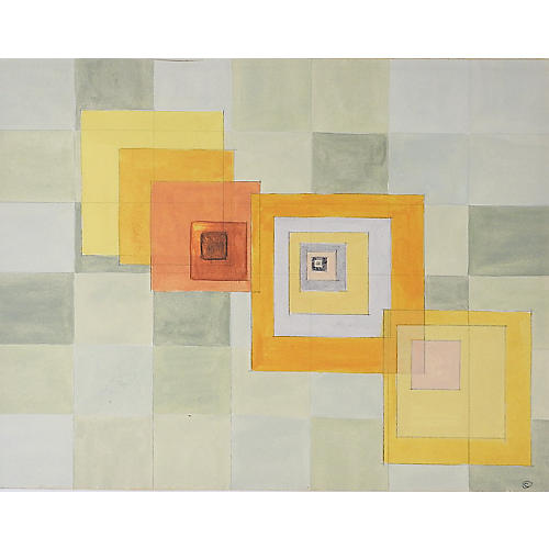 Geometric Abstract Orange & Gray