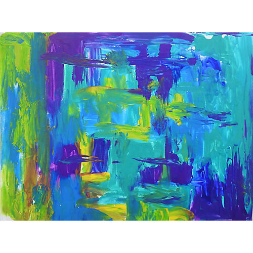 Turquoise & Purple Abstract Painting