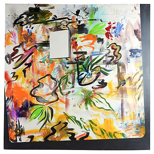 Abstract Expressionist Painting on Wood